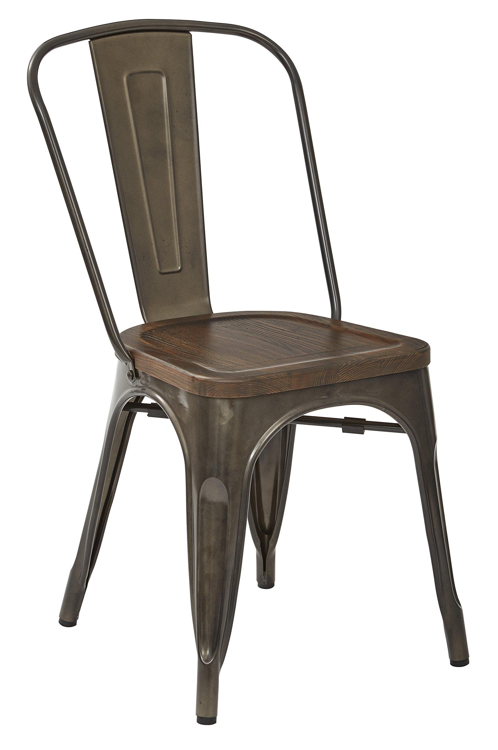 OSP Designs Indio Metal Chair with Wood Seat, Matte Gunmetal/Walnut
