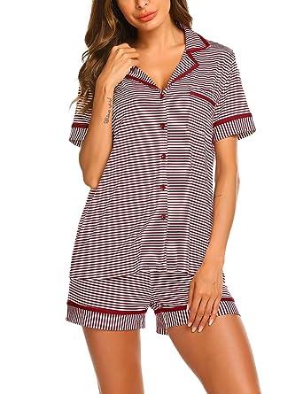 on sale 659af 6c5ac MAXMODA Schlafanzug Damen Kurzarm Gestreift Pyjama Set Sleepwear  Zweiteilige mit Knöpfen S-XXL