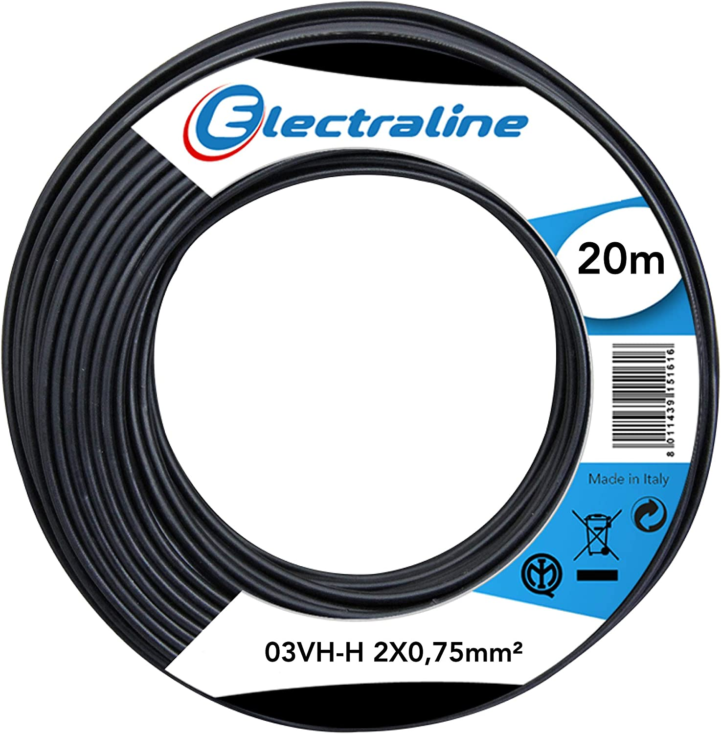 2x0.75 mm 20 Mt. Cable 03VH-H Eelctraline 10694