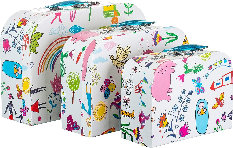Brandsseller - Caja de cartón con asa, diseño infantil, 3 unidades, papel, Diseño infantil., 3 unidades