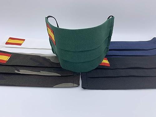 Una unidad de algodon Verde Azul Militar Negra Rosa Blanca con bandera de España: Amazon.es: Handmade