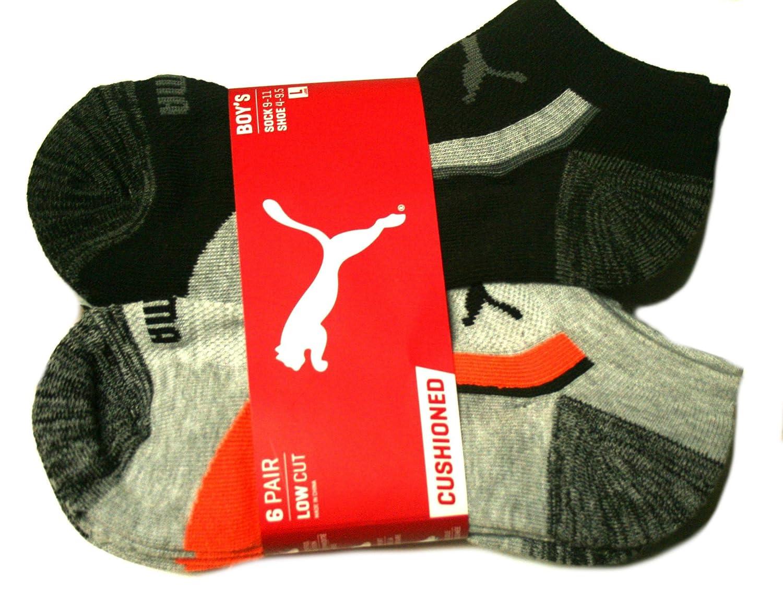 Gray//Black//Orange Puma 6 Pair Low Cut Cushioned Boys Socks Sock: 9-11, Shoe: 4-9.5