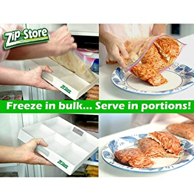 Zip n Store - Freeze n Serve - Organize Your Freezer - Freeze In Bulk, Serve In Portions, Perfect For Meal Prep + Portion Control + Organization, Freeze Leftovers, Like An Icecube Tray For Food
