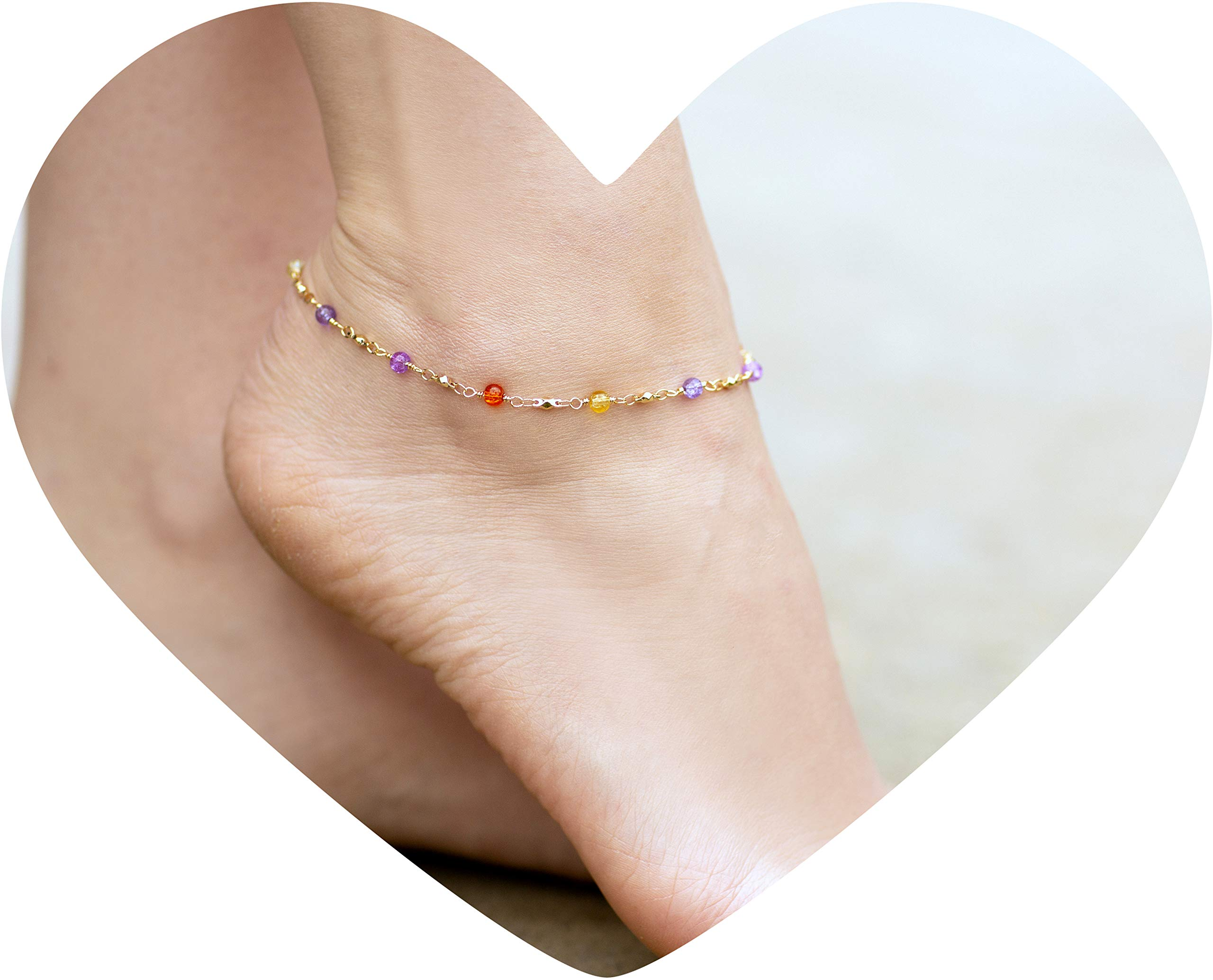 Lifetime Jewelry Ankle Bracelets for Women & Teen Girls [ Durable & Cute Colorful Balls Gold Anklet ] up to 20x More 24k Plating Than Other Foot Jewelry - Lifetime Replacement Guarantee (11.0) by Lifetime Jewelry (Image #2)