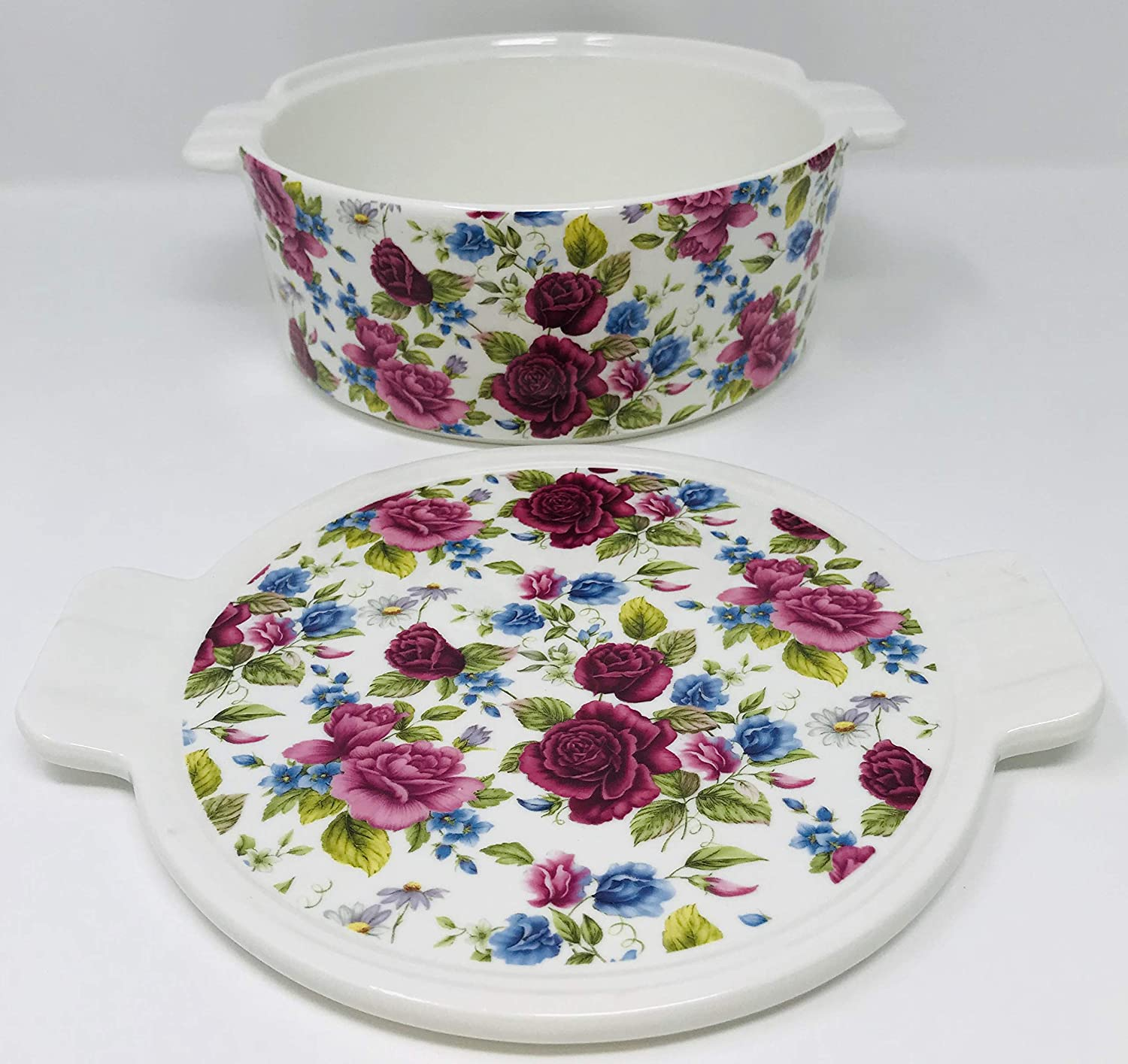 Round 8 x 3.25 inches Cranberry Pink /& Blue Roses Decorate This 3 in 1 Oven Safe Lidded Porcelain Baking Dish Casserole Use The Lid for A Tray Or Trivet
