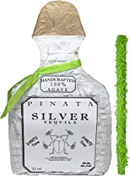 White Tequila Bottle Pinata with Stick -17.5