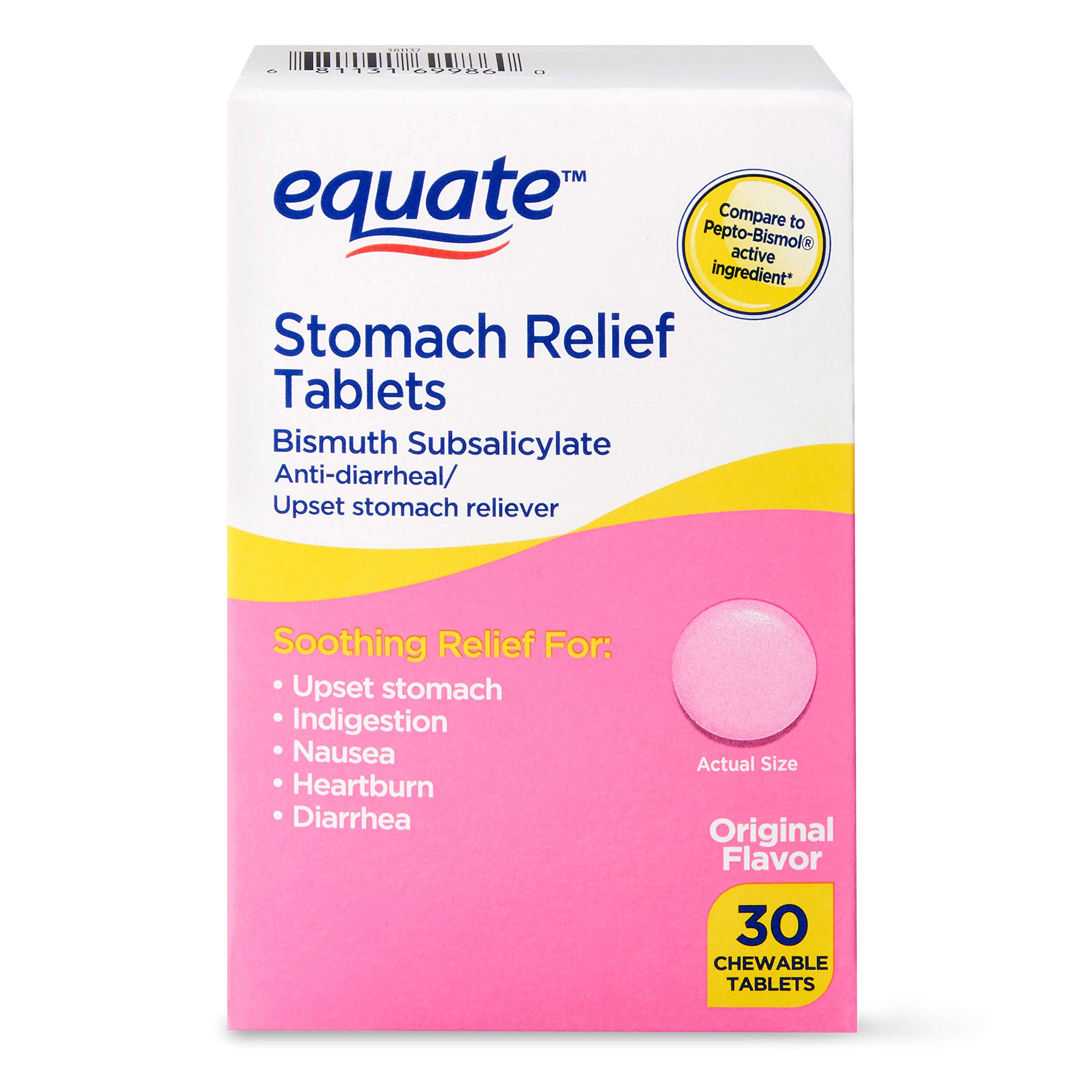 Equate - Stomach Relief, Pink Bismuth Subsalicylate, 30 Chewable Tablets