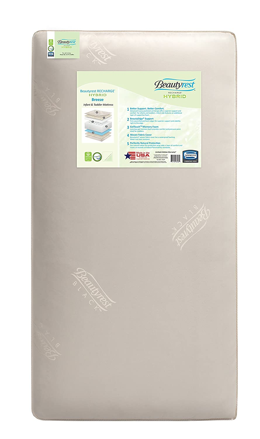 Beautyrest Recharge Hybrid Breeze Innerspring/Foam Crib and Toddler Mattress | Waterproof | GREENGUARD Gold Certified (Natural/Non-Toxic) Simmons M59211-5029