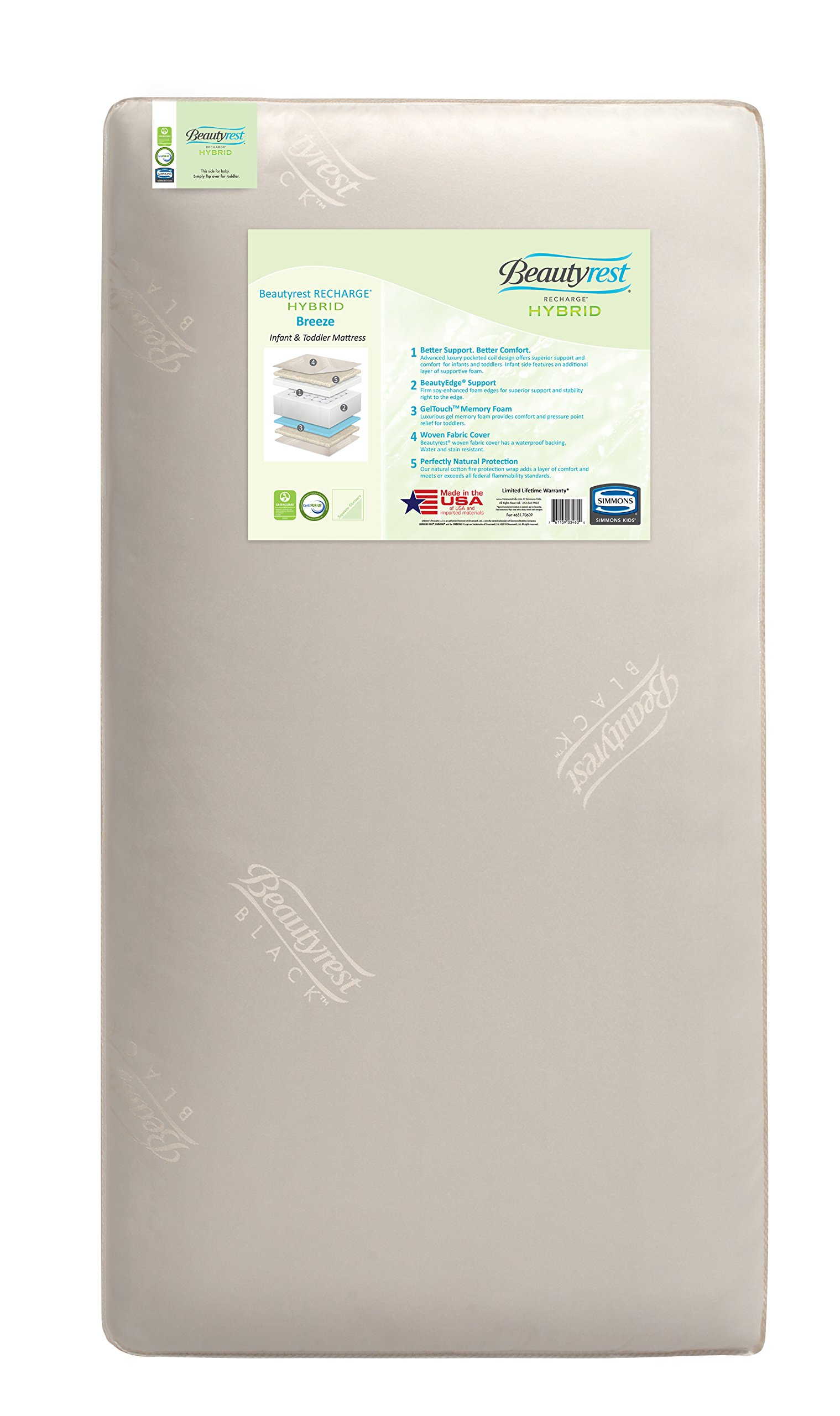 Simmons Kids Beautyrest Recharge Hybrid Breeze Crib and Toddler Mattress by Simmons Kids (Image #1)