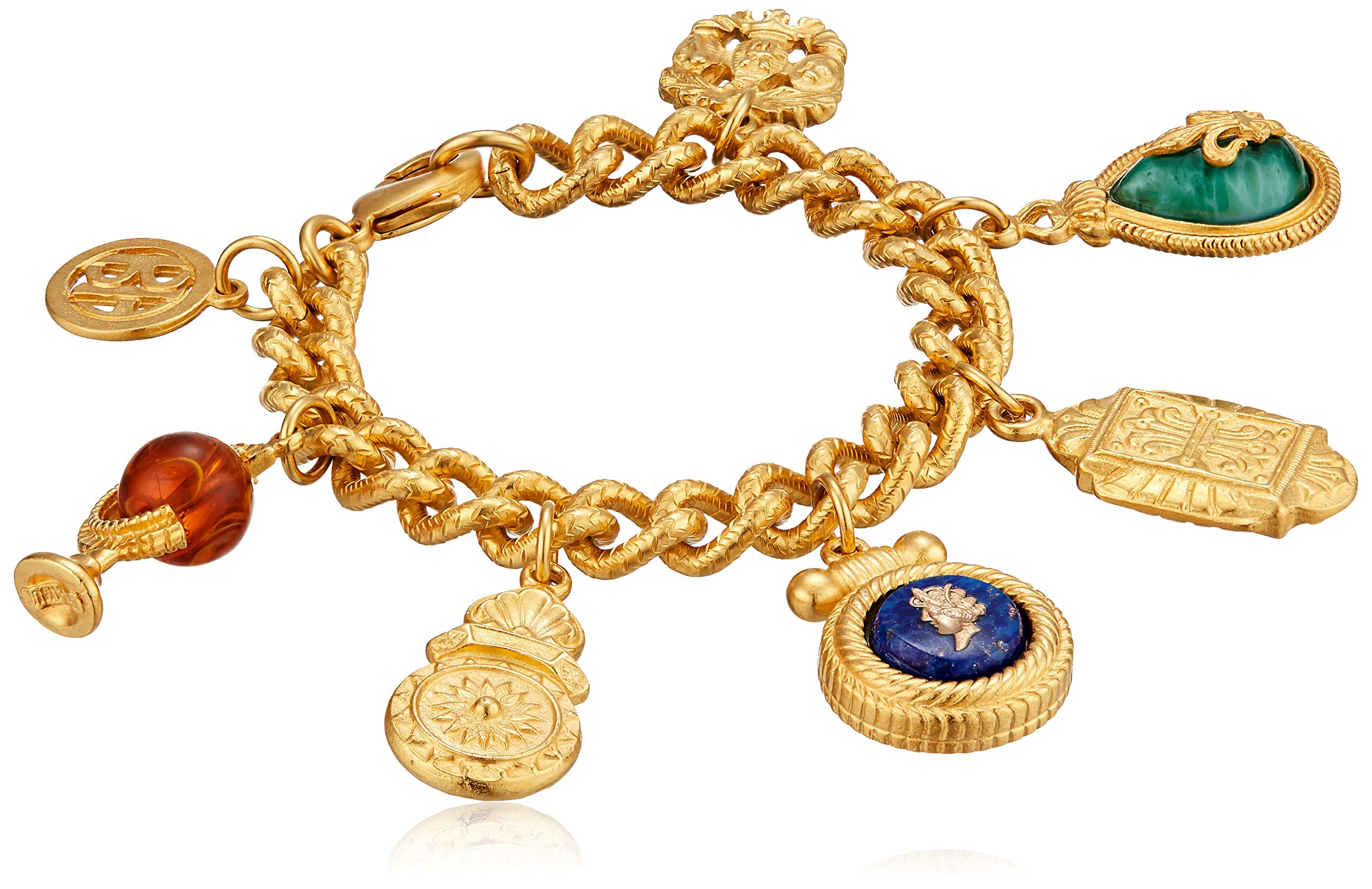 Ben-Amun Jewelry Royal Charm Vintage-Inspired Gold Multi Charm Bracelet, 7'' Length, Gold, One Size