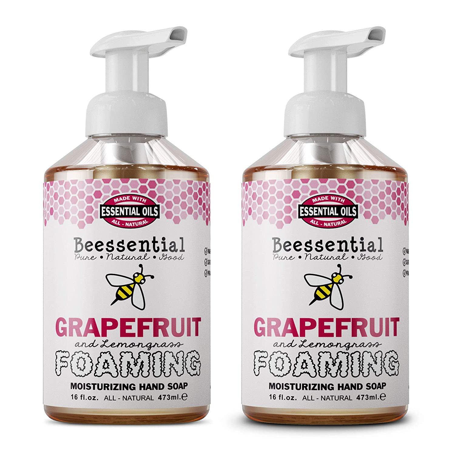 Beessential Foaming Hand Soap 2 Pack, Grapefruit And Lemongrass, 32 Ounce