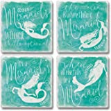 Set of 4 Absorbent Stone Coasters - When All Else Fails be a Mermaid
