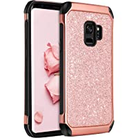 Samsung Galaxy S9 Case, BENTOBEN Glitter Bling Shockproof Dual Layer Hybrid Protective Hard Cover for Galaxy S9 2018 Released, Rose Gold