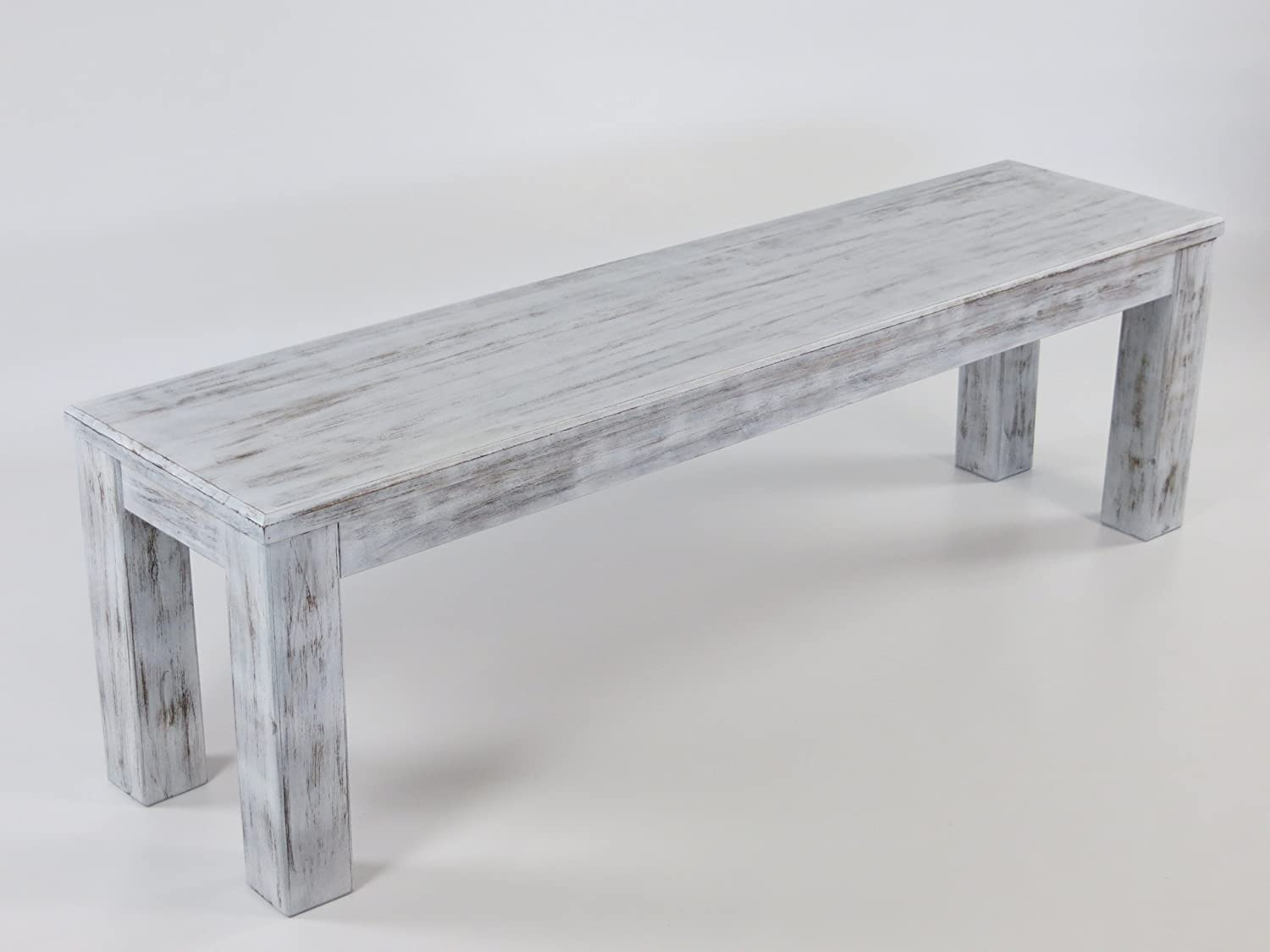 MassivholzmÖbel Kuckuck Bench 120 X 38 Cm Oak Antique Shabby Antique White Colour - Pine Wood Bank Oiled And Waxed