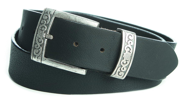 Trachtengürtel verzierte Schliesse Wechselgürtel Jeansgürtel Wechselschliesse 4cm in schwarzbraun : )