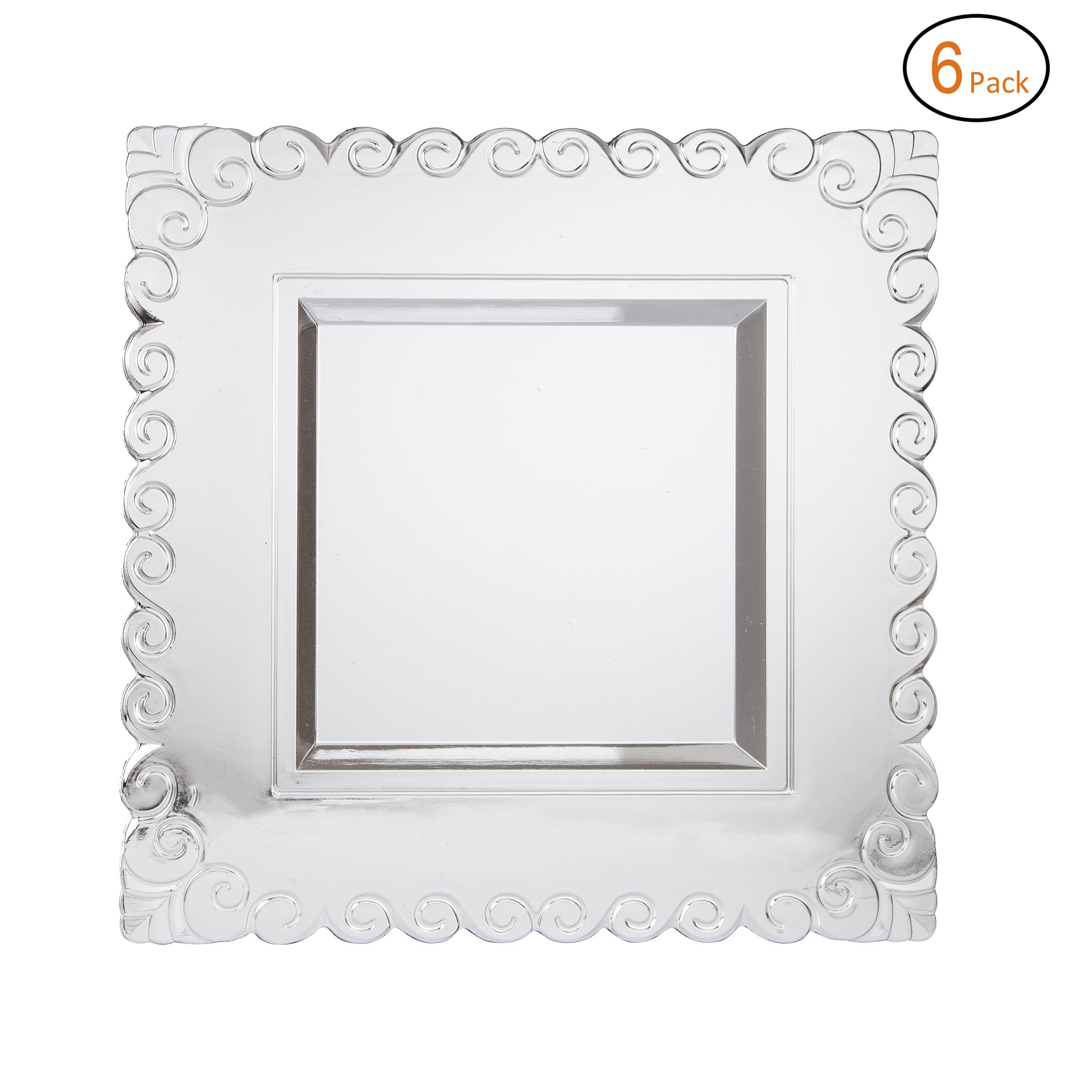 FANTASTIC :)  Square 13 Inch Plastic Charger Plates with Eletroplating Finish (6, Side Circle Silver)