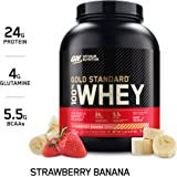 Optimum Nutrition Gold Standard 100% Whey Protein Powder, Strawberry Banana, 2.27 Kilograms