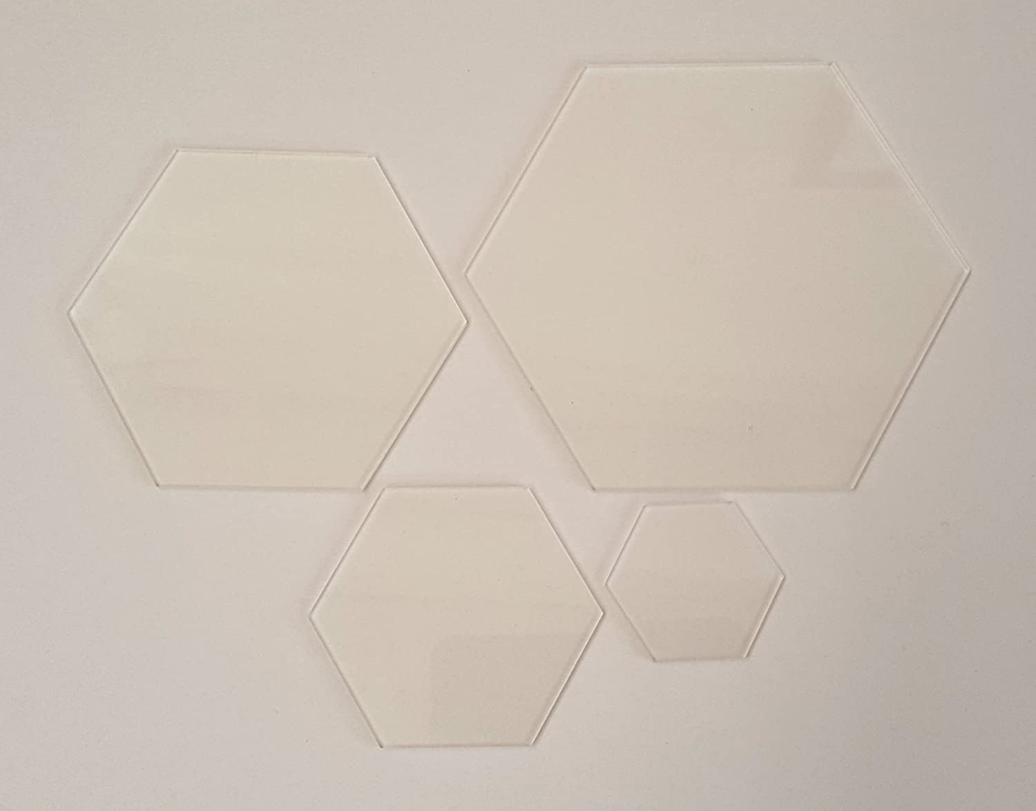 New 4 Hexagon Patchwork Templates 3mm Clear Acrylic Quilting Ruler Memories & Gifts Ltd