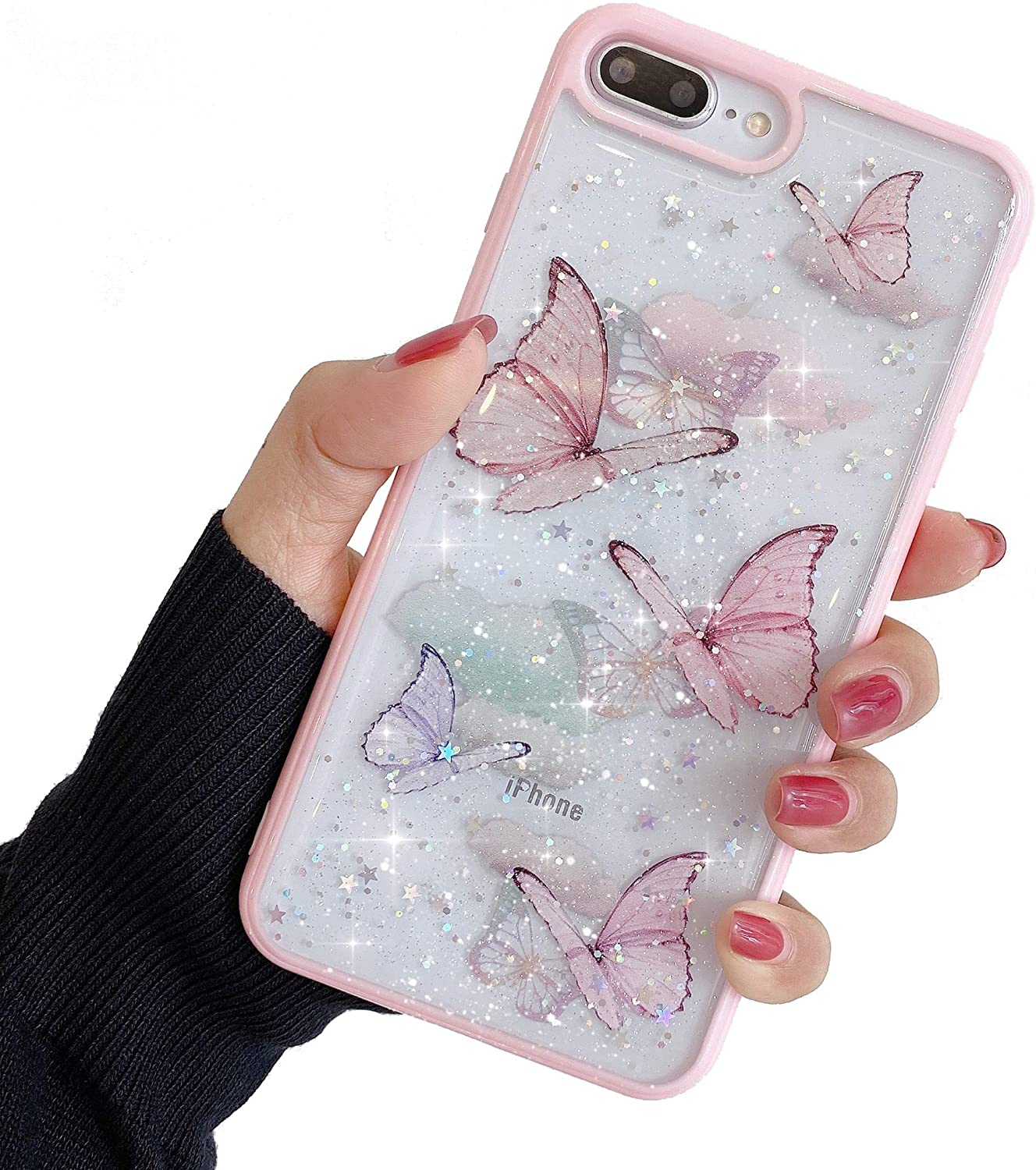 """Compatible with iPhone 6/6s Case for Girls,Soft Slim Fit Full-Around Protective Cute Clear Sparkly Bling Star Butterfly Pattern Phone Case Glitter Cover for iPhone 6/6s 4.7""""-Pink"""
