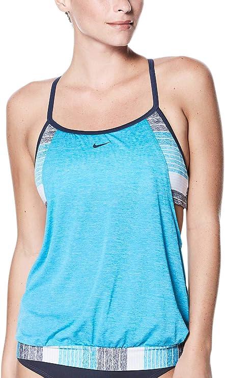 e966188062ec7 Amazon.com : NIKE Women's Layered Sport Tankini (Light Blue, Small ...