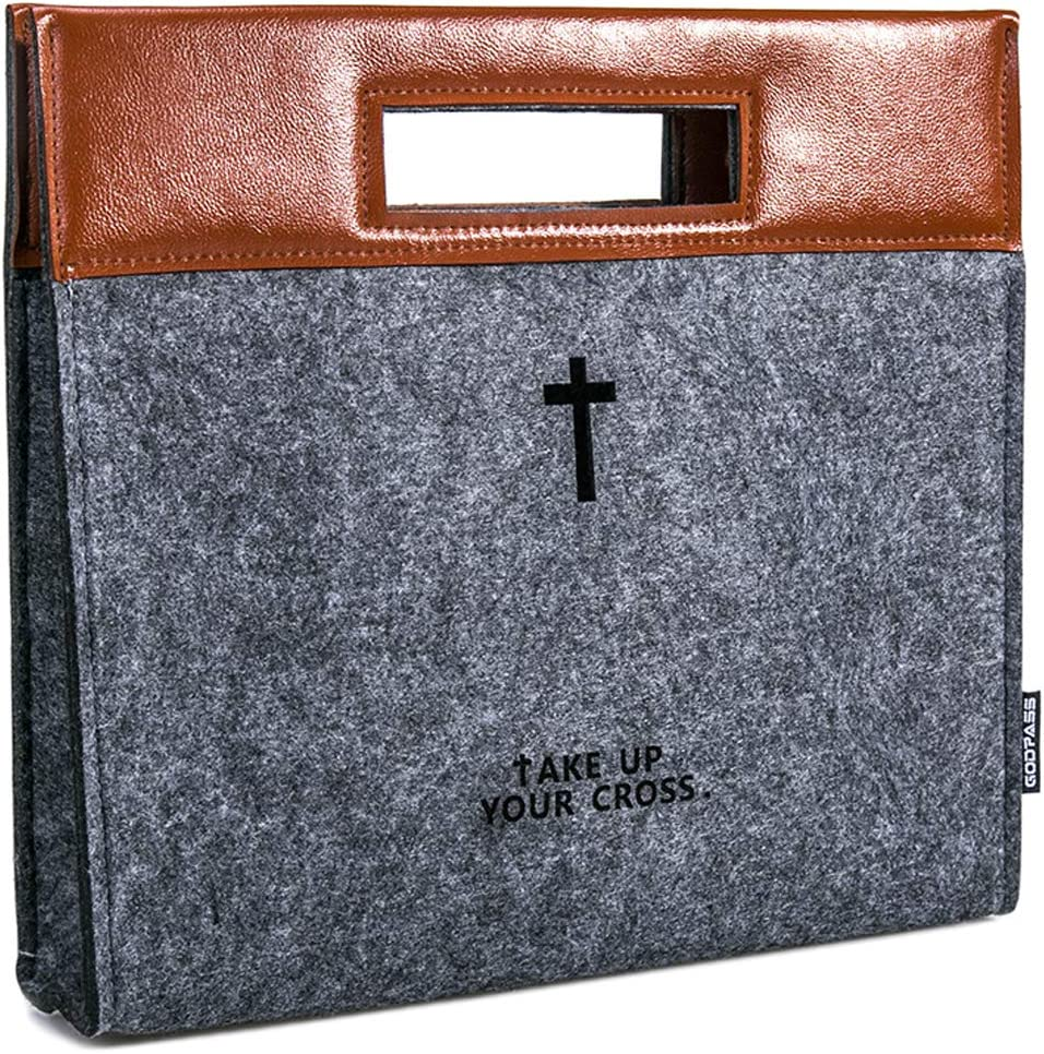 dark gray Zipper Bible Briefcase Bible Tote Carrying bag Stainless Steel Handle PU Leather Tote Church Study Case,Church Bag AGAPASS Bible Carrying Case,Handbag Felt Bible Cover for Men