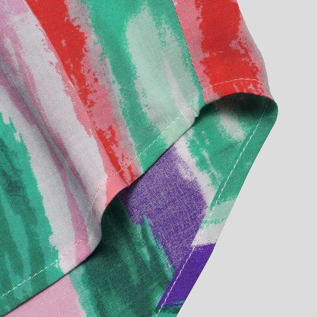 iYBUIA Mens 100/% Cotton Printed Hawaiian Button Stand Collar Short Sleeve Lightweight Loose Henry T-Shirts
