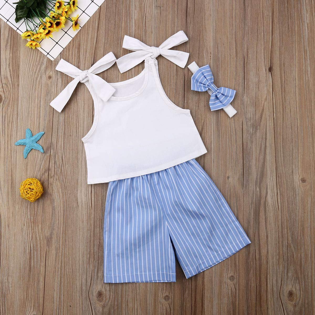 3PCS Kids Girl Bow Sling Halter Vest Top+Stripe Flare Pants Outfits Set Loose Wide Leg Casual Seven Pants