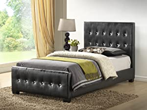 Glory Furniture Black - Twin Size - Modern Headboard Tufted Design Leather Look Upholstered Bed