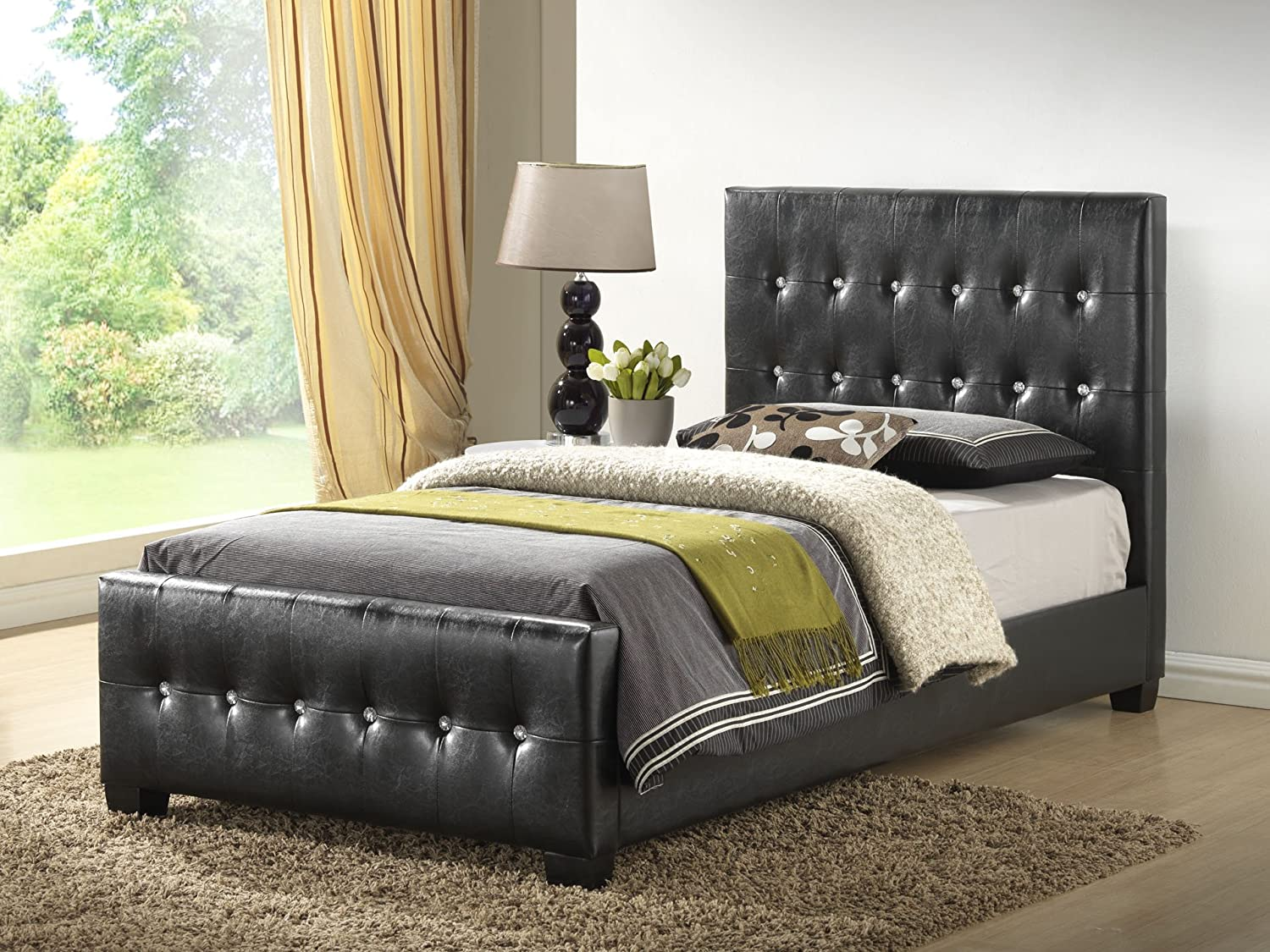 amazoncom white queen size modern headboard tufted leather look upholstered bed kitchen u0026 dining