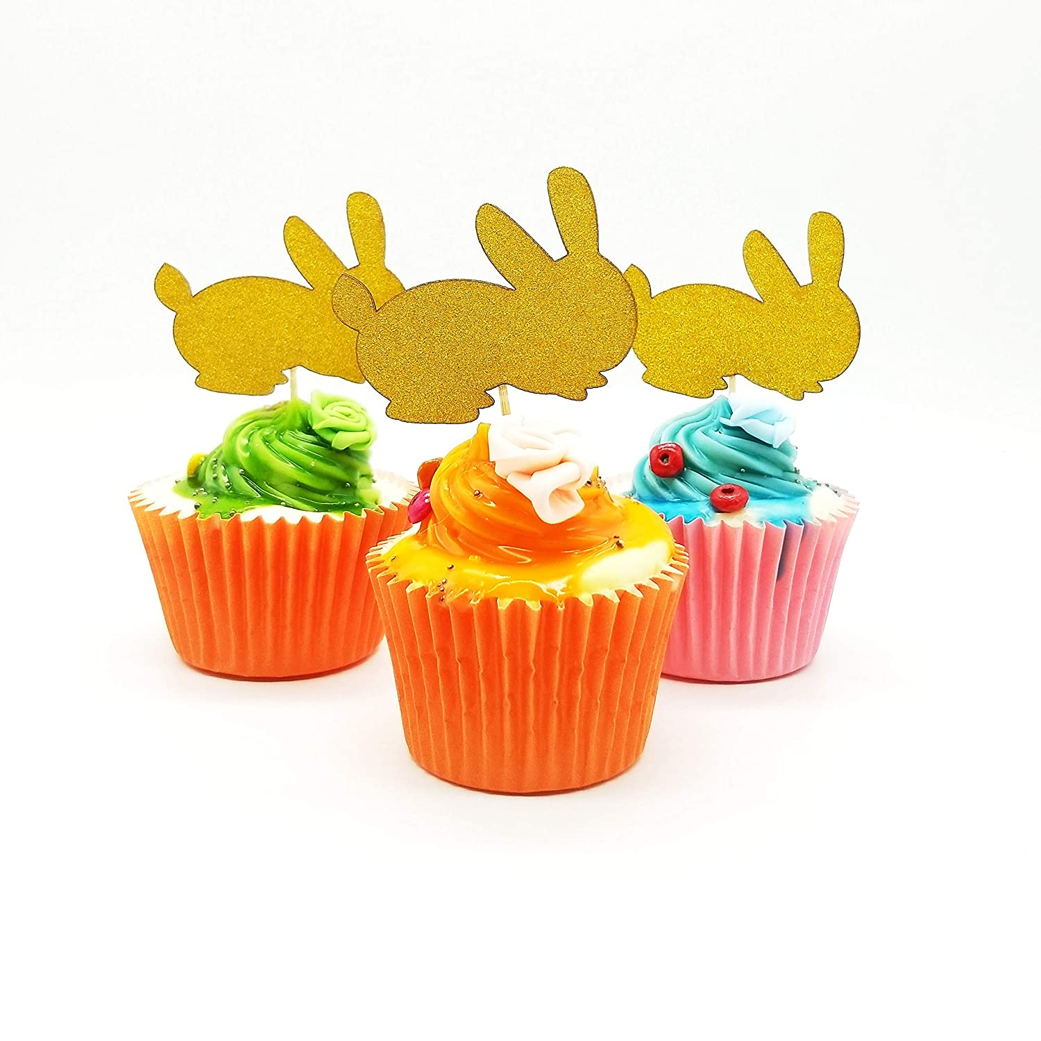 Double Sided Glitter Gold Bunny Cupcake Topper Gold Bunny Topper Baby Shower Set 24