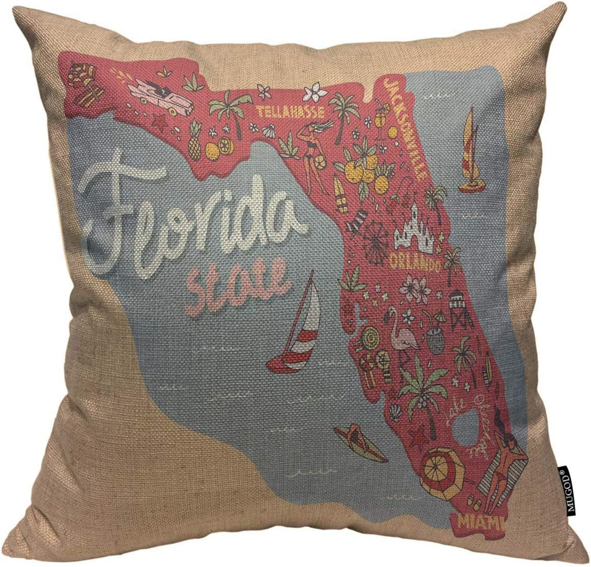Mugod Florida Map Throw Pillow Cover Travel and Attractions Map of The State of USA Florida Decorative Square Pillow Case for Home Bedroom Living Room Cushion Cover 18x18 Inch