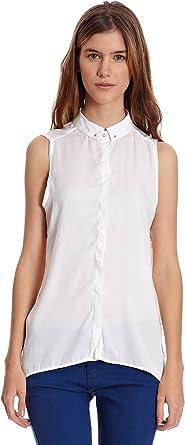 Bershka Blusa S/M Detalle Piercing Cuello Blanco Roto L ...