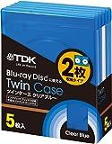 TDK ブルーレイディスク用 ツインケース(2枚収納タイプ) 割れにくいソフトケース 厚さ12mmの標準ケース ジャケットカード付き 5枚パック CASE-BD2B5A