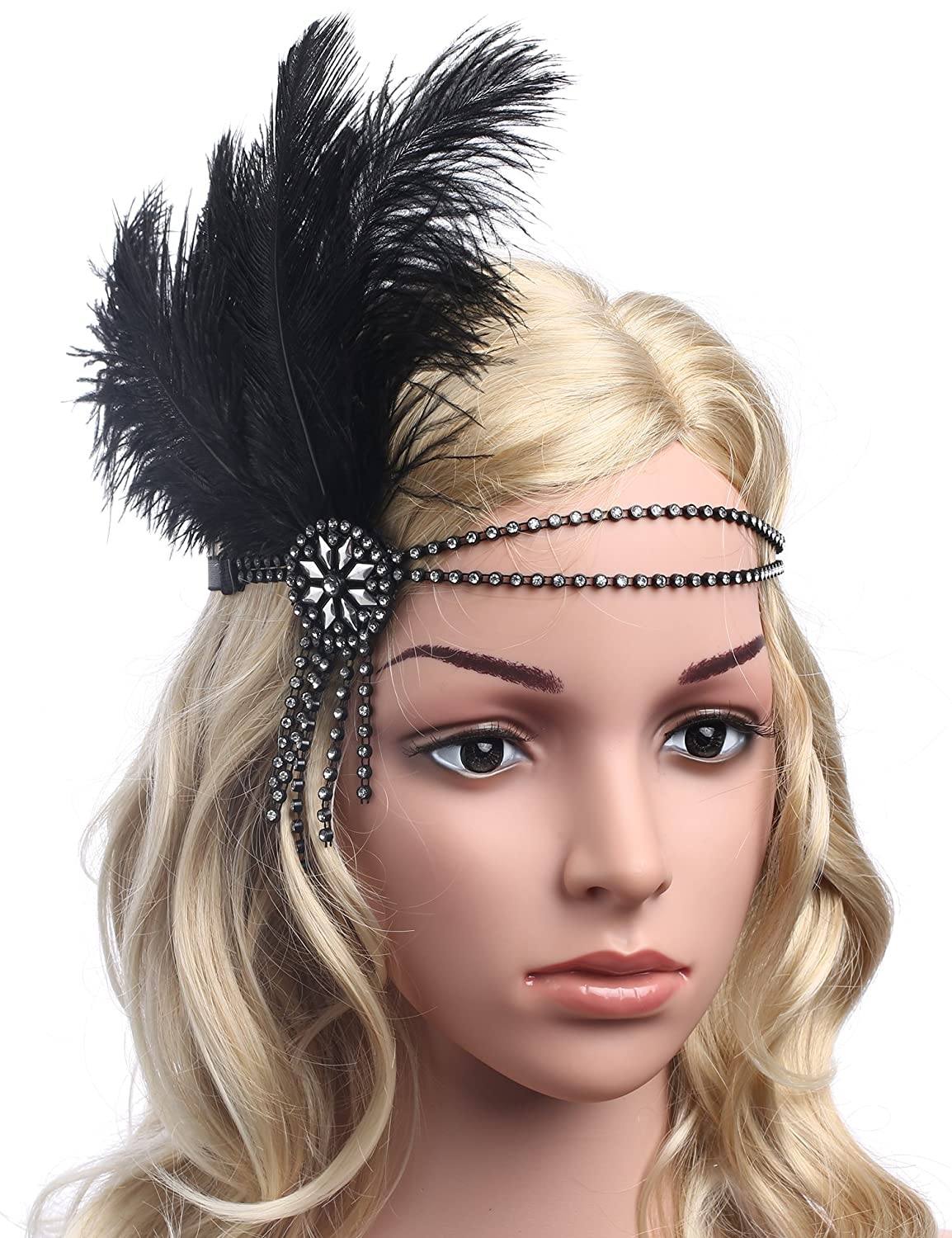BABEYOND 1920s Flapper Headband 20s Great Gatsby Headpiece Black Feather Headband 1920s Flapper Gatsby Accessories with Tassel and Ribbon (Silver crystals) BABEYOND-H-0152