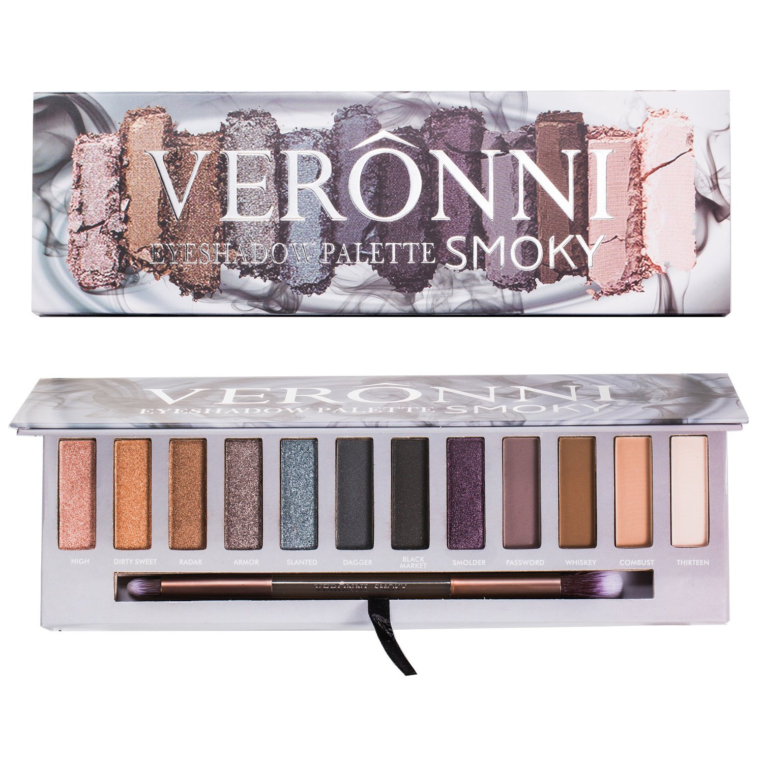 12 Colors Highly Pigmented Pressed Shimmer & Matte Eyeshadow Palette -  Natural Smokey Colorful