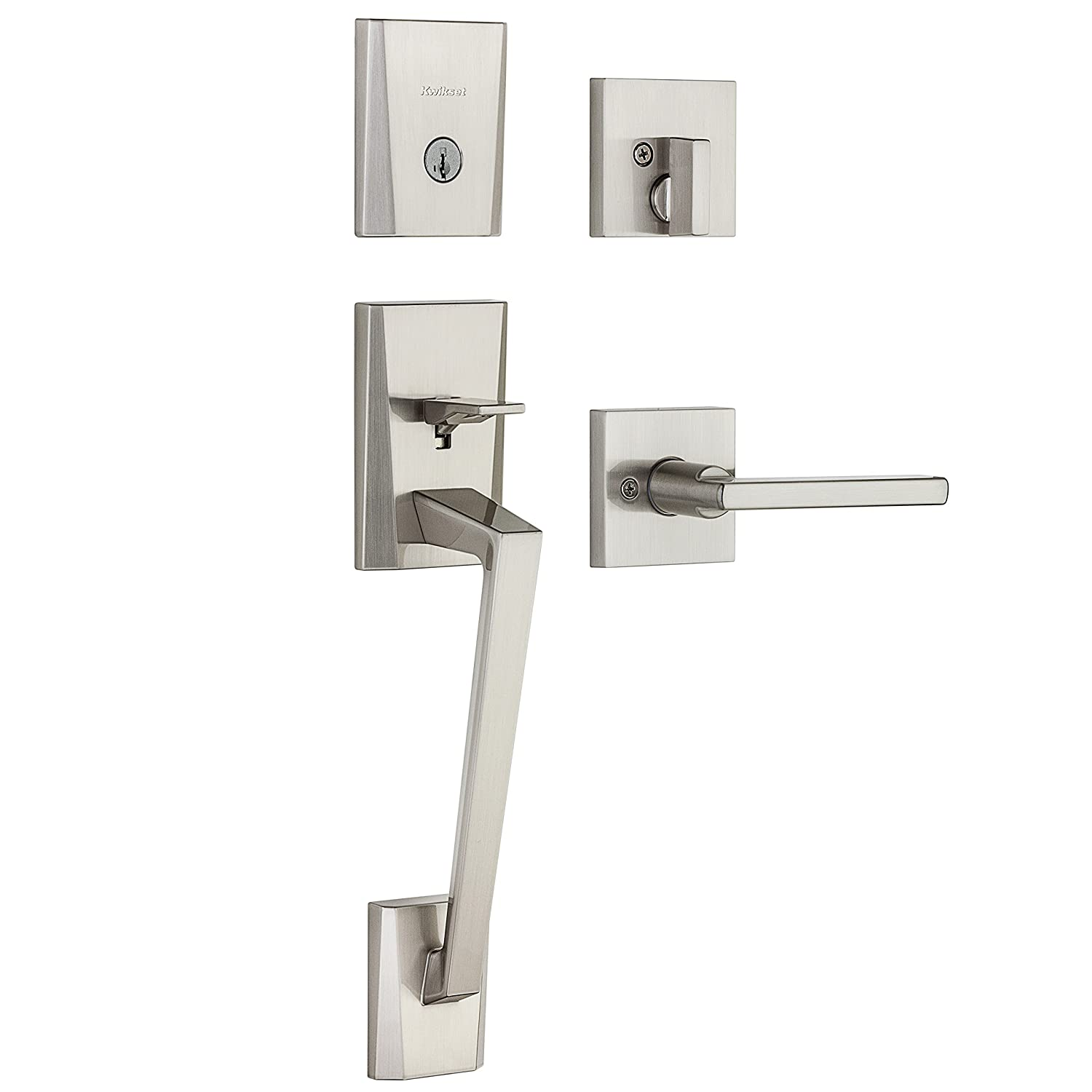 Kwikset 98180-003 Camino Single Cylinder Low Profile Handleset with Halifax Lever Featuring Smartkey In Satin Nickel