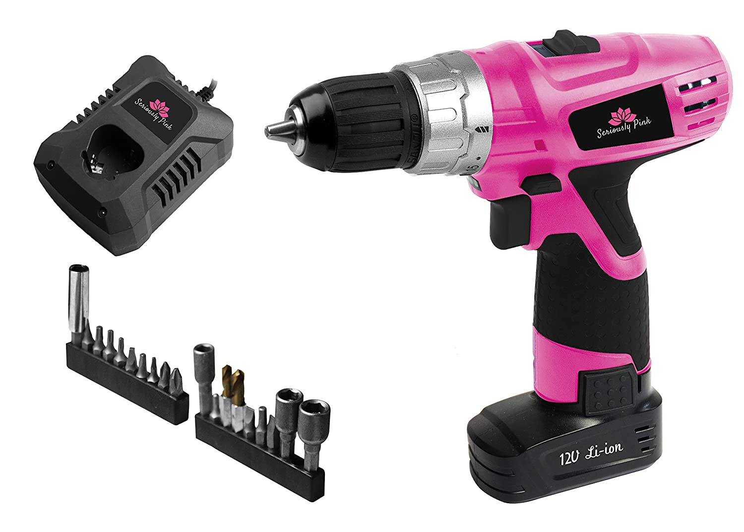 Seriously Pink 12V Lithium ion Drill Driver with 21 Accessories JINDING GROUP