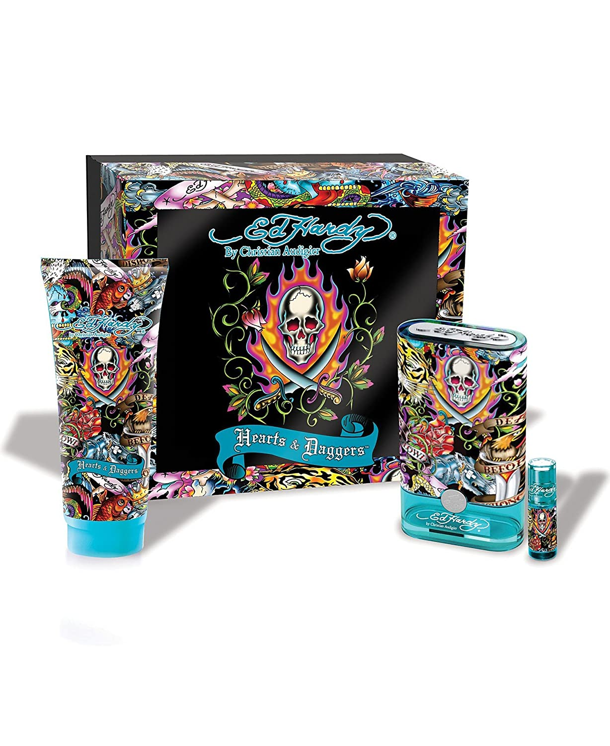 Ed Hardy Hearts & Daggers by Christian Audigier for Men 3 Piece Set Includes: 1.7 oz Eau de Toilette Spray + 3.0 oz Hair & Body Wash + 0.25 oz Eau de Toilette Travel Spray
