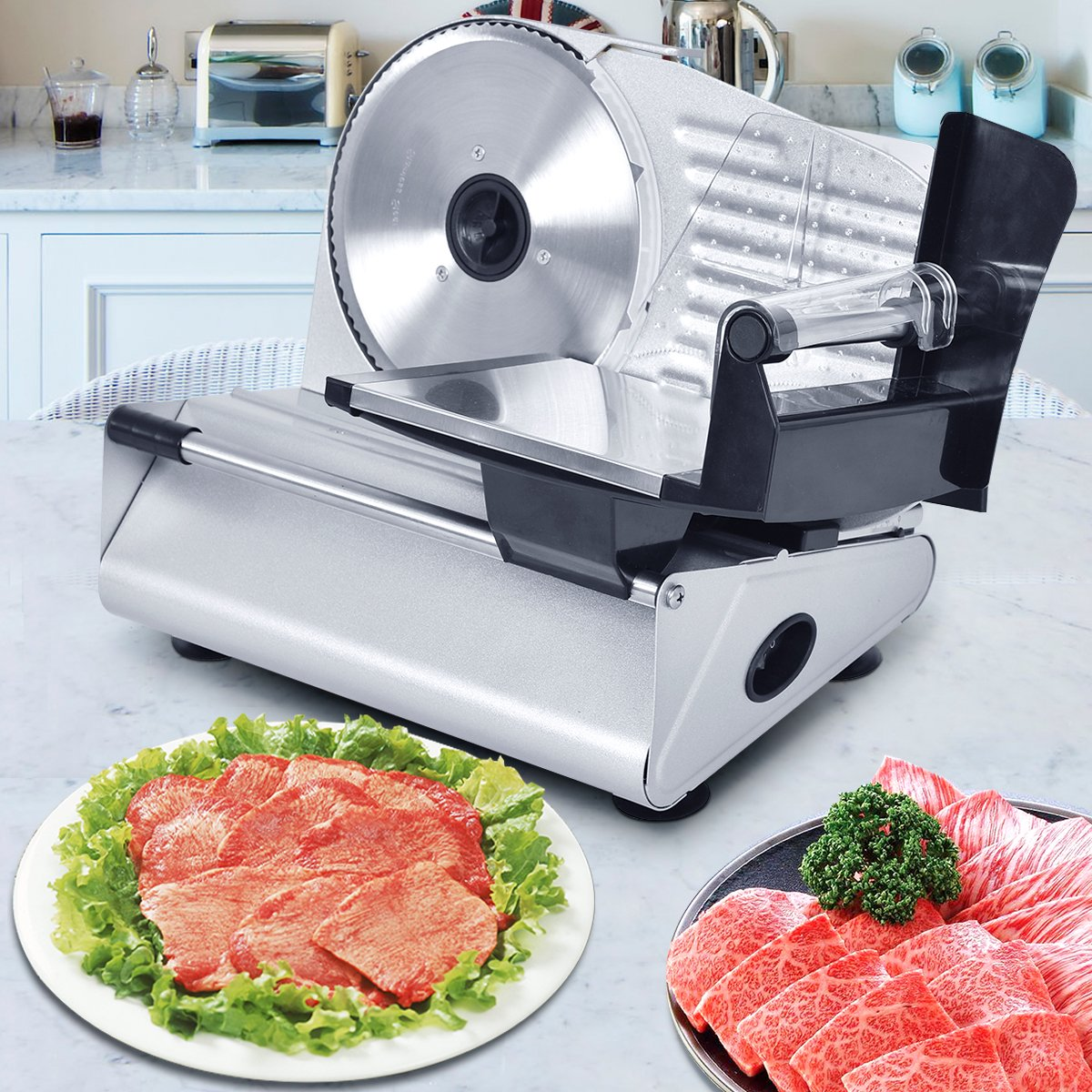 Tangkula Electric Slicer 7.5'' Commercial Meat Slicer Machine for Home Kitchen Restaurant Heavy Duty Chrome Plated Stainless Professional Semi-Auto Kitchen Deli Cheese Food Vegetable Slicer Cutter