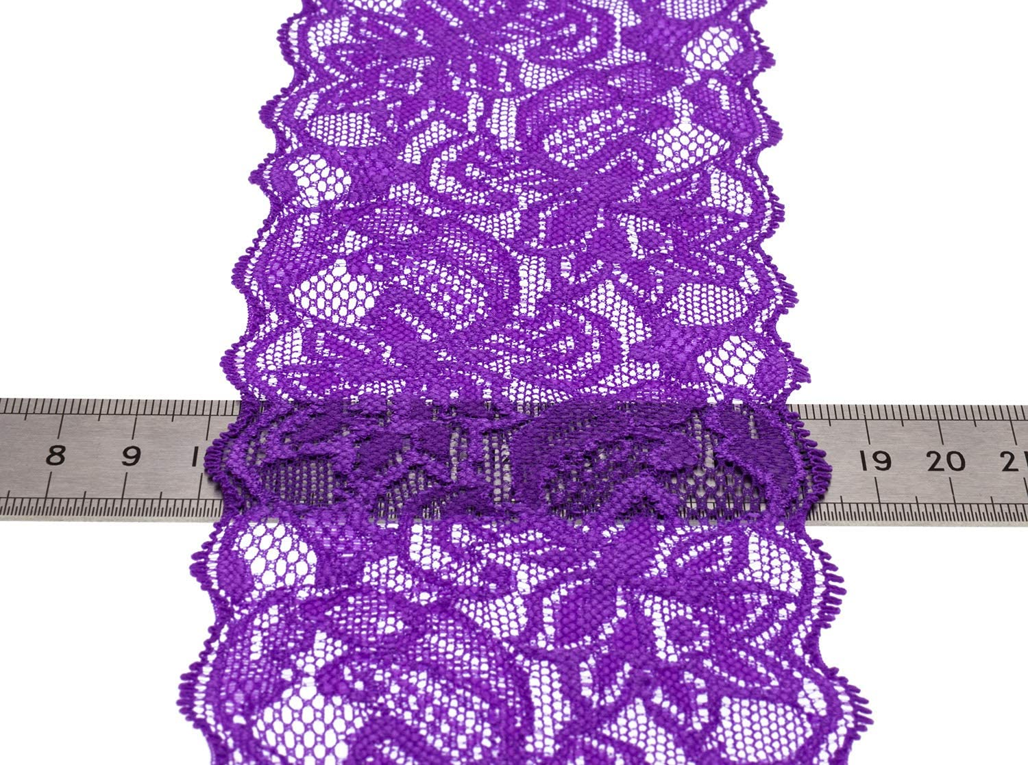 ATRibbons 10 Yards 3 Inch Wide Elastic Lace Trim Floral Pattern Lace Ribbon for Garment,Crafts and Gift Wrapping Light Lake Blue