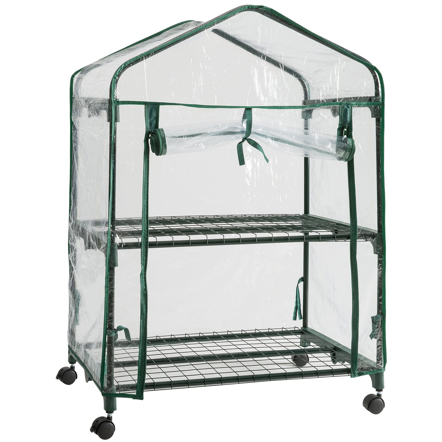 DOEWORKS 2 Tier Mini Portable Plant Greenhouse with Clear Cover, Indoor Outdoor Garden House with Casters, 26.8''x 19.1''x 39.4''