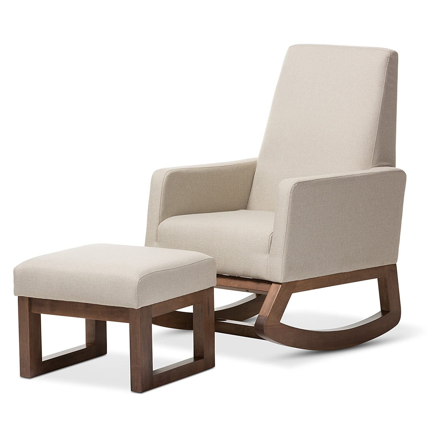 Amazon.com: Baxton Studio Yashiya Mid Century Retro Modern Fabric  Upholstered Rocking Chair And Ottoman Set, Light Beige: Kitchen U0026 Dining