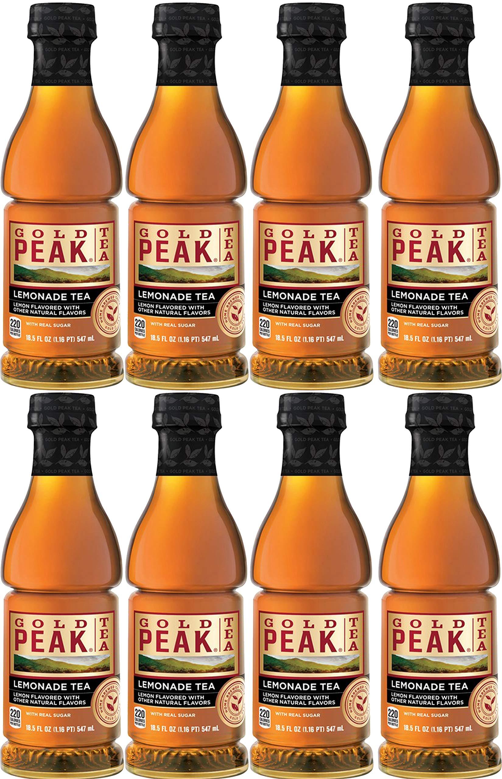 Gold Peak Tea, Lemonade Tea With Real Sugar, 18.5oz Bottle (Pack of 8, Total of 148 Oz)