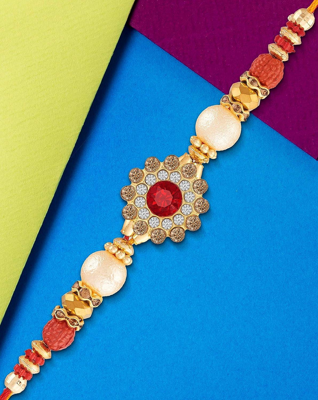 Rakhi Bracelet for Brother Handcrafted Designer Red Thread Rakhi for Rakshabandhan Rakshabandhan Bracelet for Brother Faux Stone Designer Rakhi Gift for Brother Bhayi Veera Bro Bhabi