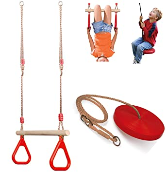 Set Of Wooden Trapeze Monkey Bar Swing Plate Disc Rope Swing Seat