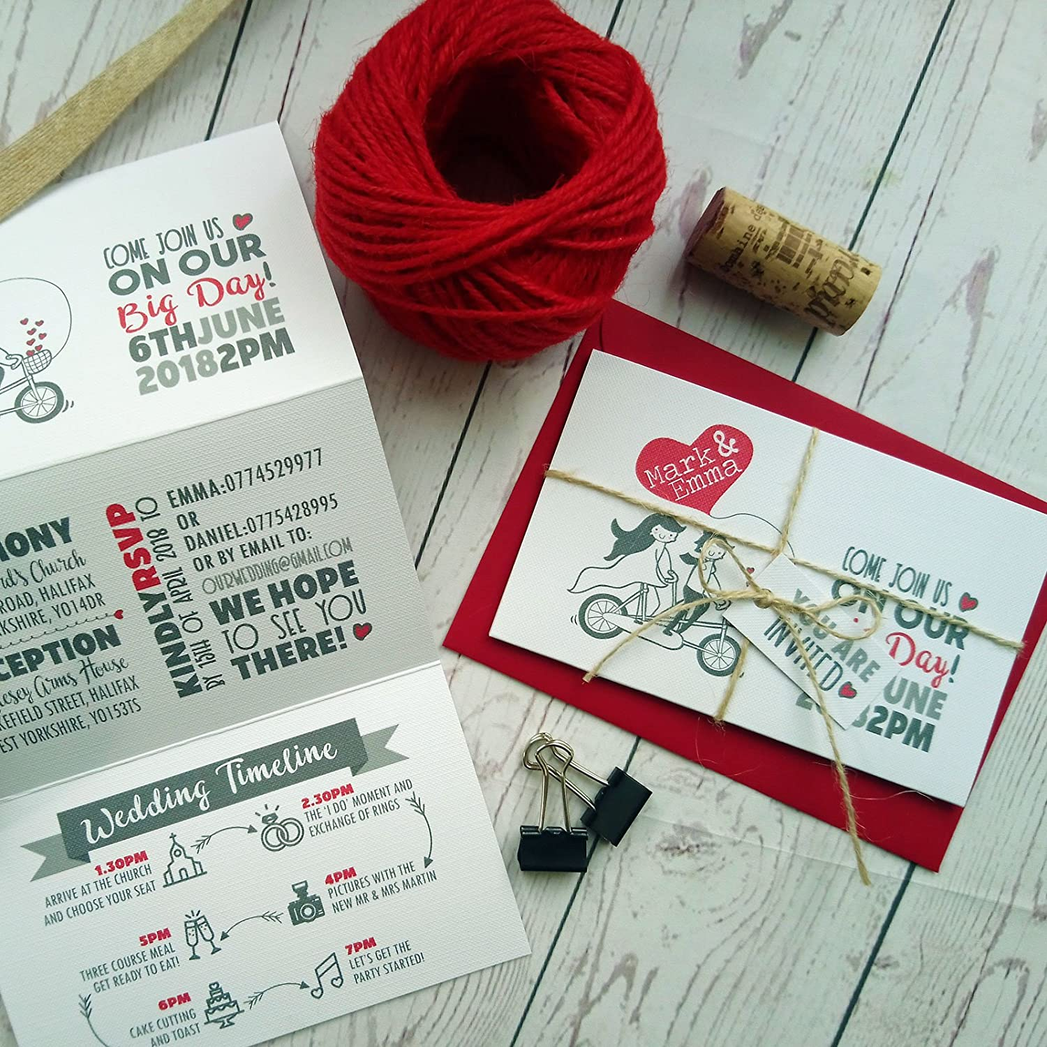 Personalised Red Love Hearts Vintage Bike Lovers Tri Fold Wedding ...