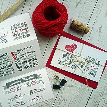 Personalizable rojo Corazones de amor vintage para bicicleta los amantes de los Tri plegable invitación de