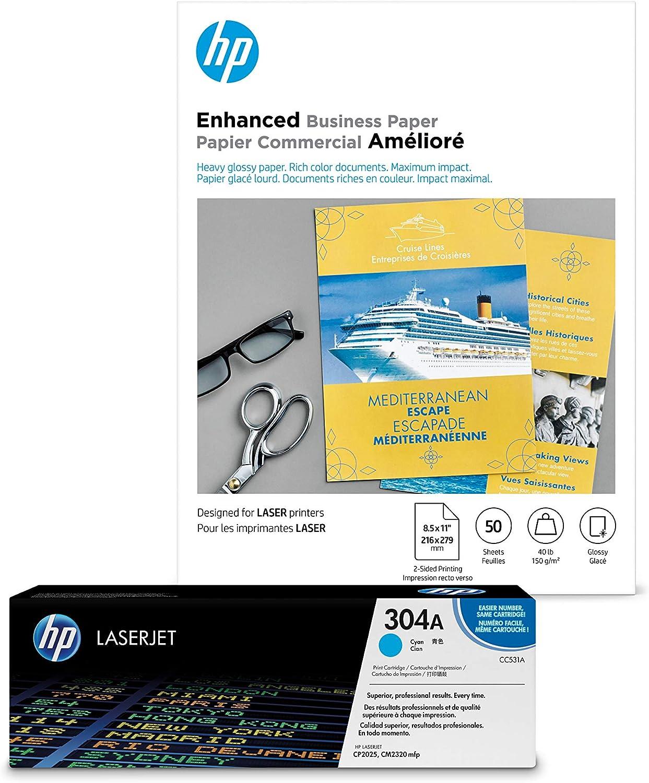 HP 304A Cyan Toner + HP Brochure Paper, Laser, 8.5x11, 50 sheets, Glossy