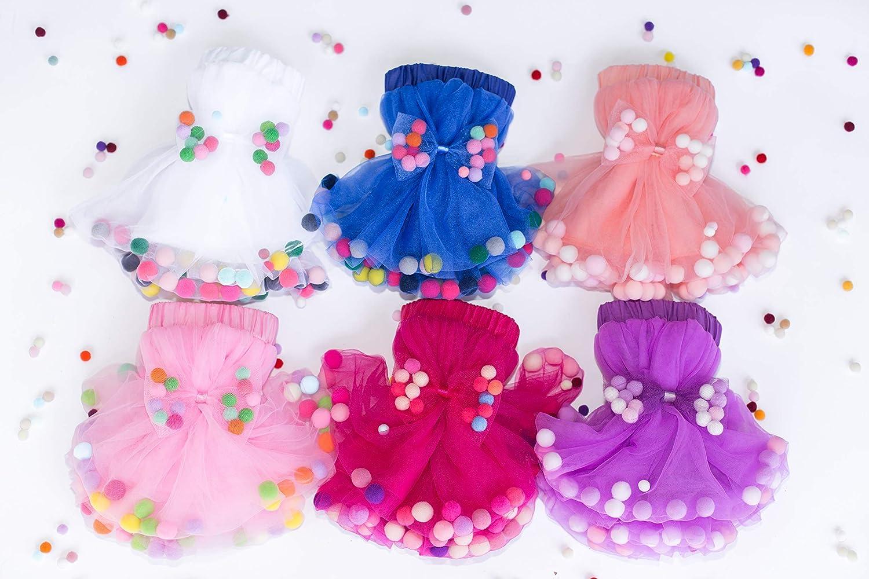 Baby girl pom pom skirt Baby Toddler Tutu Skirt Tulle skirt for toddler girl Special occasion outfit Baby Shower Gift Blue tutu skirt