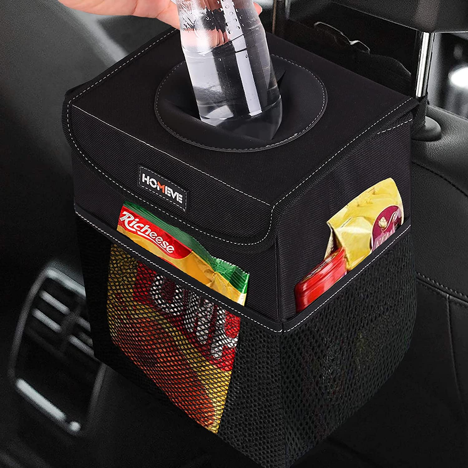 Multipurpose Car Trash Can, Garbage Organizer with Lid & Pockets
